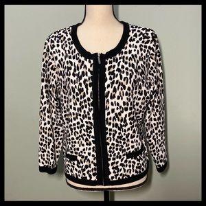 White House Black Market Leopard ZIP Sweater L